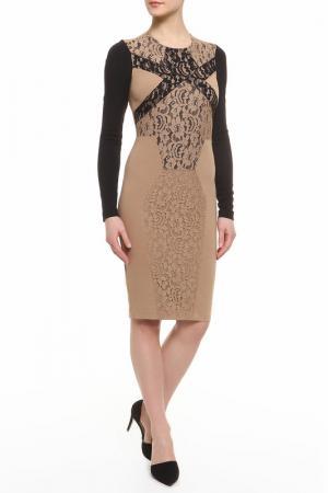 Платье CLASS ROBERTO CAVALLI. Цвет: черный, бежевый