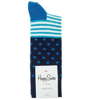 Синие хлопковые носки в полоску и горошек Happy Socks. Цвет: синий