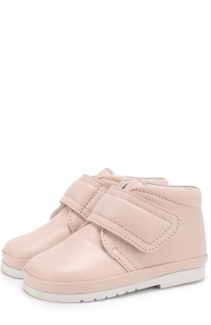Кожаные ботинки на застежках велькро Gallucci. Цвет: розовый