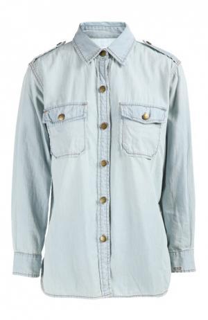 Джинсовая блуза прямого кроя с накладными карманами и погонами Current/Elliott. Цвет: светло-голубой