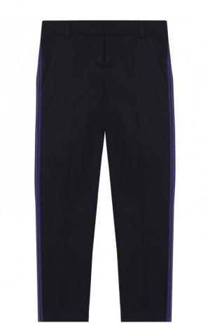 Хлопковые брюки с лампасами Lanvin. Цвет: синий