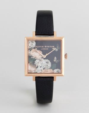 Olivia Burton Часы с черным кожаным ремешком и циферблатом цветочным принтом Olivi. Цвет: черный