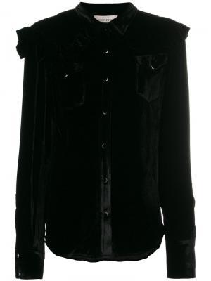 Рубашка с длинными рукавами и оборками Laneus. Цвет: чёрный