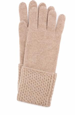 Кашемировые перчатки с отделкой из страз Swarovski William Sharp. Цвет: бежевый