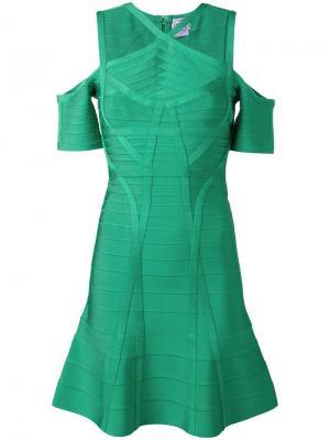 Платье с открытыми плечами Hervé Léger. Цвет: зелёный