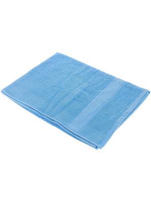 Махровое полотенце голубой 70*140-100% хлопок, УзТ-ПМ-114-08-06 Aisha. Цвет: голубой