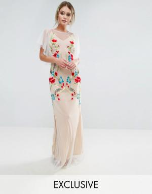 Hope and Ivy Платье макси с вышивкой и расклешенными рукавами &. Цвет: белый