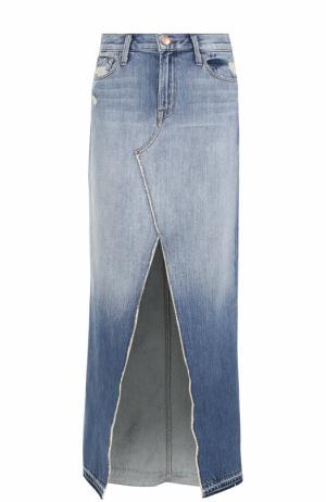 Джинсовая юбка с потертостями и высоким разрезом J Brand. Цвет: синий