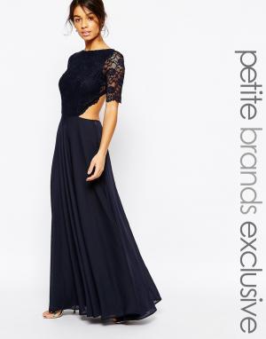 John Zack Petite Платье макси с кружевным лифом и вырезами. Цвет: темно-синий