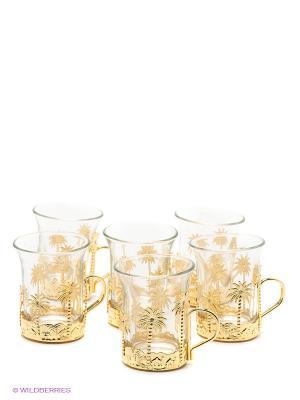 Чайный набор с пальмами Юнион. Цвет: золотистый, прозрачный