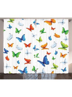Фото штор белый Салатовые, зелёные, синие, голубые и оранжевые бабочки в полёте Magic Lady. Цвет: белый, салатовый, голубой, красный, оранжевый