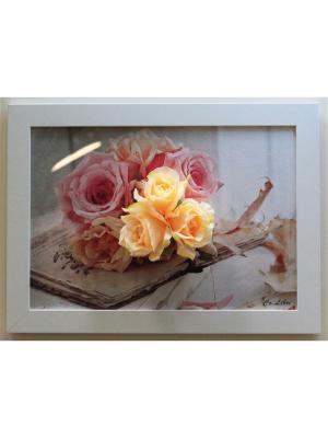 Картина из цветов Интерьерный штрих. Цвет: лиловый, светло-оранжевый