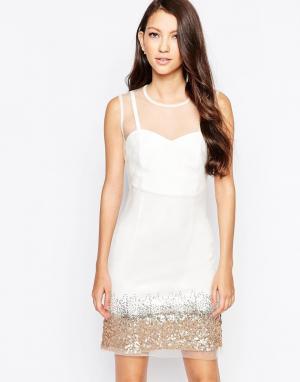 Key Collections Платье с пайетками Ashley Roberts специально для. Цвет: белый