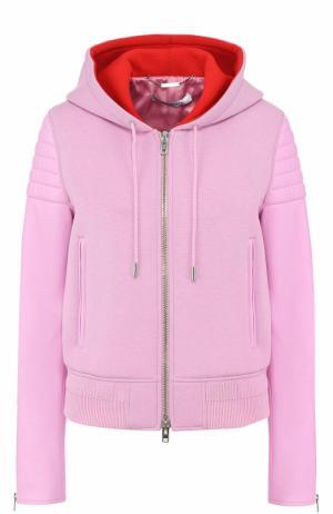 Куртка на молнии с кожаными рукавами и капюшоном Givenchy. Цвет: фуксия
