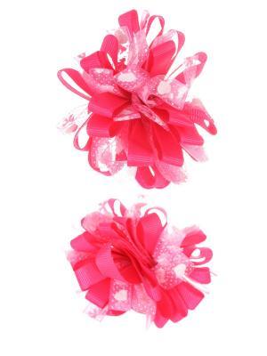 Банты из ленты на резинке в сердечко-бантик, темно розовый, набор 2 шт Радужки. Цвет: розовый