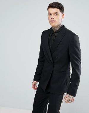 ASOS Черный двубортный пиджак с золотистым рисунком. Цвет: черный