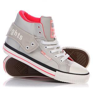 Кеды кроссовки высокие женские  Roco Ice/Neon Pink British Knights. Цвет: серый,розовый
