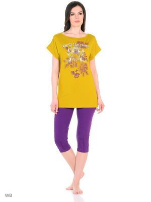 Домашний костюм ( туника, бриджи) HomeLike. Цвет: фиолетовый, горчичный