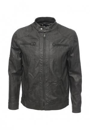 Куртка кожаная Brave Soul. Цвет: серый
