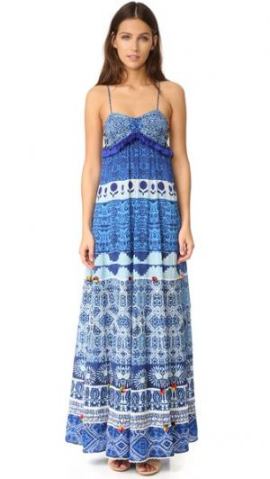 Длинное шелковое платье с рисунком чернилами Hemant and Nandita. Цвет: голубой