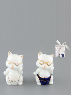 Набор для специй Котята-умники Elan Gallery. Цвет: белый, синий, золотистый