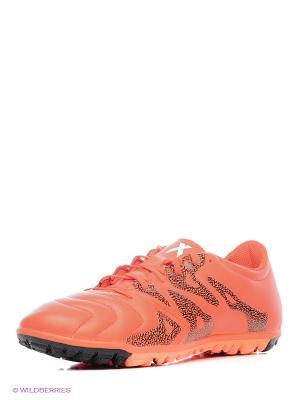 Бутсы X 15.3 Tf Leather adidas. Цвет: оранжевый, черный