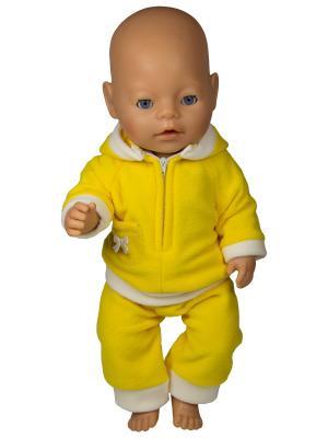 Костюм для пупса 43 см из флиса: куртка с капюшоном и штанишки Модница.. Цвет: желтый, белый