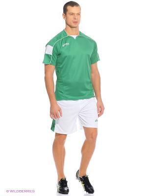 Комплект (футболка+шорты) SET GOAL ASICS. Цвет: темно-зеленый, белый