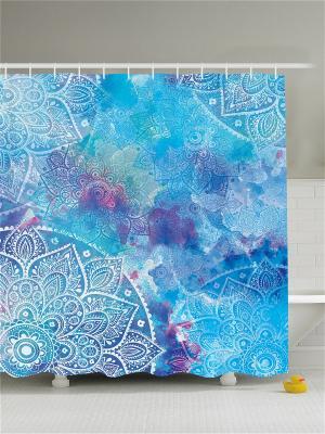 Фотоштора для ванной Цветные узоры, 180*200 см Magic Lady. Цвет: голубой, сиреневый, фиолетовый, белый, синий