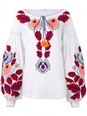 Блузка Eden Tree с вышивкой Yuliya Magdych. Цвет: белый