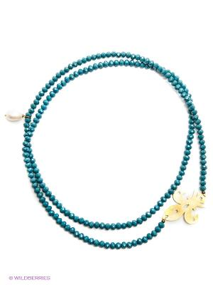 Ожерелье PS by Polina Selezneva. Цвет: синий, белый, золотистый