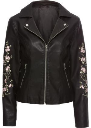 Байкерская куртка с цветочной вышивкой (черный) bonprix. Цвет: черный