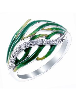 Кольцо Teosa. Цвет: зеленый, серебристый