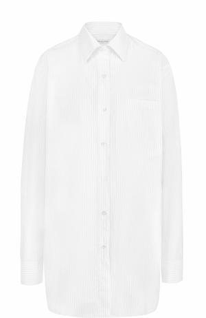 Удлиненная хлопковая блуза в полоску Dries Van Noten. Цвет: белый