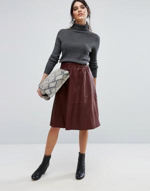 Selected Кожаная юбка миди. Цвет: коричневый