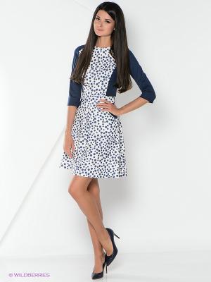 Платье La Fleuriss. Цвет: белый, синий