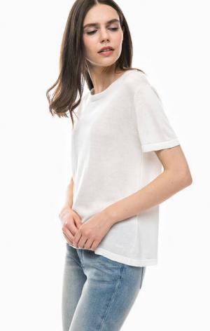Белый джемпер с короткими рукавами Gant. Цвет: белый