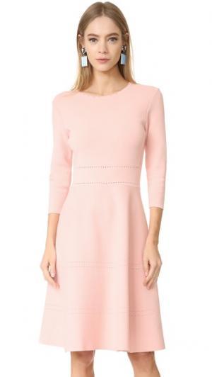 Трикотажное платье с рукавами Lela Rose. Цвет: розовый