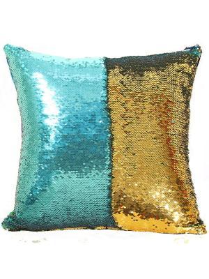 Подушка с пайетками  декоративная GOOD MOOD, коллекция Magic Shine MOOD. Цвет: бирюзовый, золотистый