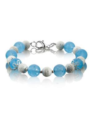 Браслет с голубым нефритом в серебре L'ATTRICE. Цвет: синий, серебристый