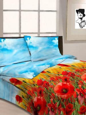 Постельное белье Letto. Цвет: голубой, красный, синий