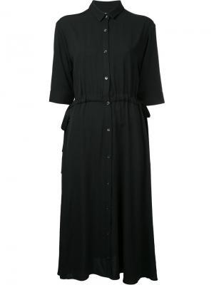 Платье-рубашка с присборенной отделкой Cityshop. Цвет: чёрный