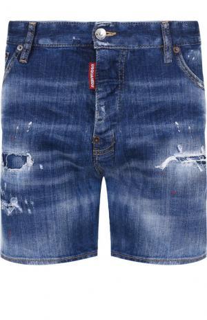 Джинсовые шорты с потертостями Dsquared2. Цвет: синий