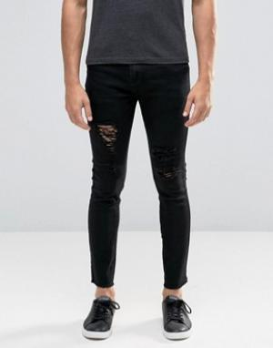 Always Rare Черные супероблегающие джинсы с прорехами и необработанным краем Alway. Цвет: черный