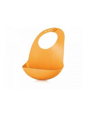 Слюнявчик Philips Avent SCF736/00 из мягкого пластика с кармашком для крошек, 6 мес.+. Цвет: оранжевый