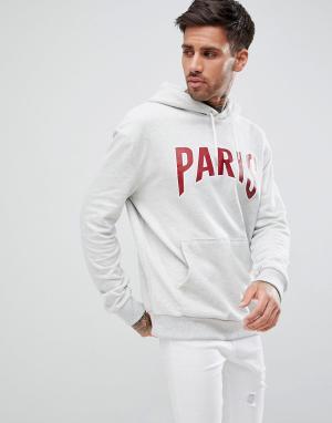 New Look Худи серого меланжевого цвета с принтом Paris. Цвет: рыжий