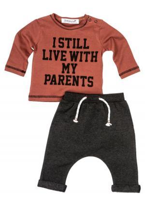 Комплект: джемпер + брюки Babaluno. Цвет: оранжевый (оранжевый/темно-серый)