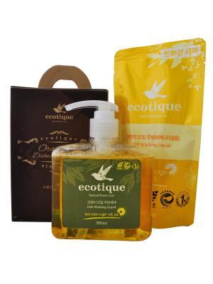 Набор средств для мытья посуды, фруктов и овощей с маслом апельсина (1 средство + 1 запасной блок) Ecotique. Цвет: светло-коричневый