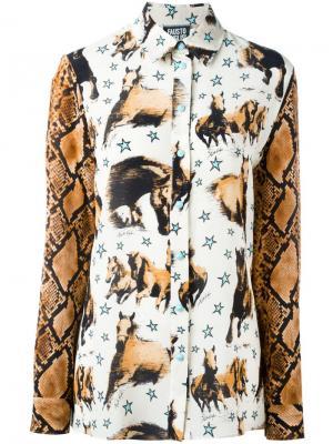 Рубашка с принтом лошадей Fausto Puglisi. Цвет: телесный