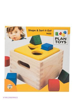 Игра Блок для сортировки фигур PLAN TOYS. Цвет: бежевый